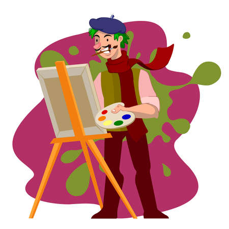 Cartoon Color Character Person Male Boy Artist Concept Flat Design Style Include of Brush, Paint and Easel. Vector illustration Illustration