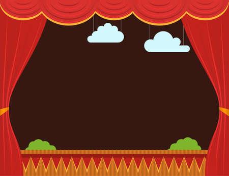 Cartoon Empty Children Puppet Theater Background Card. Vector