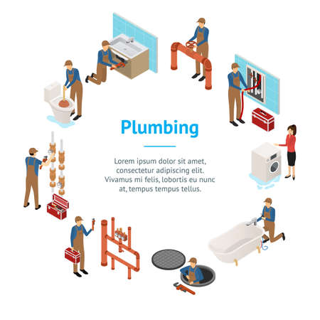Character Plumber in Uniform Concept Banner Card Circle 3d Isometric View. Vector