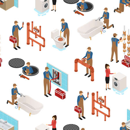 Character Plumber in Uniform Concept Seamless Pattern Background 3d Isometric View. Vector Иллюстрация