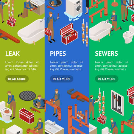 Character Plumber in Uniform Concept Banner Vecrtical Set 3d Isometric View. Vector