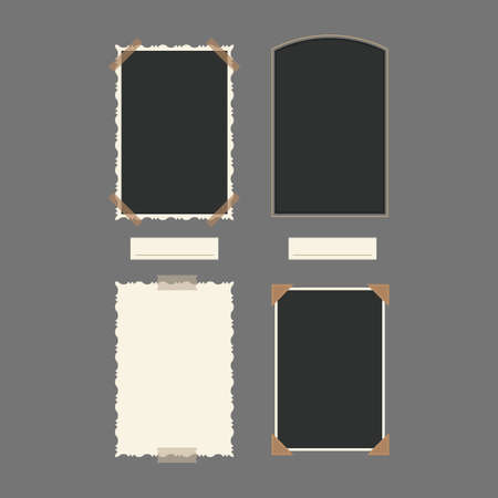 White and Black Blank Retro Photos Vertical Set. Vector
