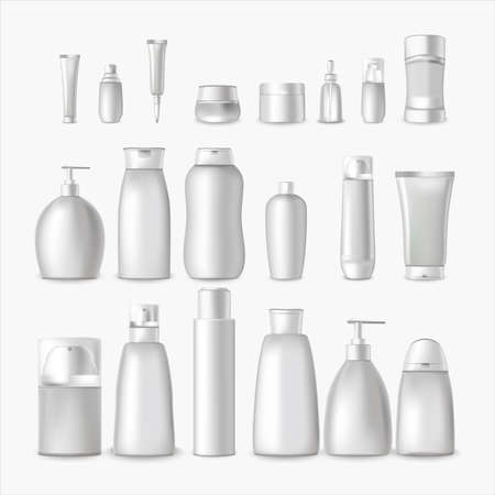 Realistic Detailed 3d White Blank Cosmetic Bottle Empty Template Mockup Set for Cream, Shampoo and Lotion. Vector illustration