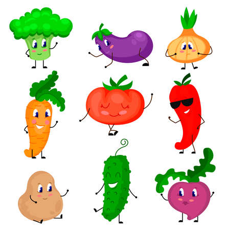 Cartoon Color Cute Vegetables Icons Set Flat Design Style Include of Tomato, Onion and Pepper. Vector illustration of Icon