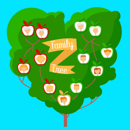 Cartoon Color Family Genealogic Tree with Portrait Concept Flat Design Style on a Blue. Vector illustration