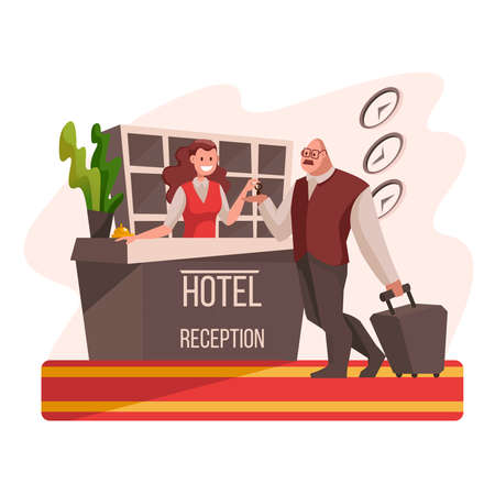 Cartoon Color Characters People Hotel Reception with Female Manager Tourism Concept Flat Design Style. Vector illustration