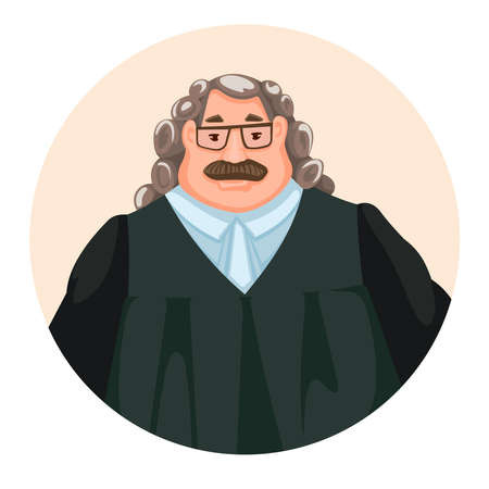 Cartoon Color Character Person Male Judge Concept Flat Design Style Symbol of Justice and Law. Vector illustration