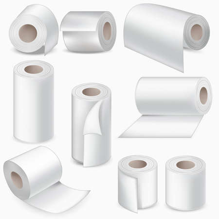 Realistic Detailed 3d White Blank Toilet Paper Roll Set for Restroom and Kitchen. Vector illustration of Rolls