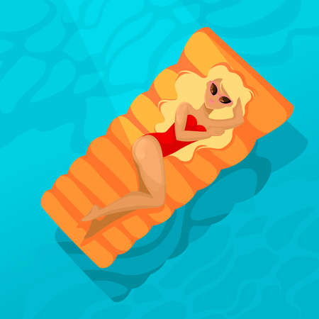 Cartoon Color Character Person Woman Rest in Pool Concept Flat Design Style Summertime Relax or Holiday. Vector illustration