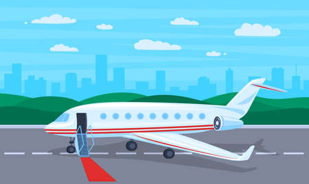Cartoon Color Business Jet and Landscape Scene Concept Flat Design Style. Vector illustration of Private Airplane on Runway