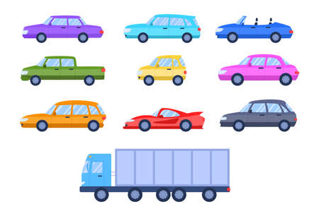 Cartoon Color Different Cars Side View Icons Set Flat Design Style Include of Truck and Sport Automobile. Vector illustration of Icon Çizim