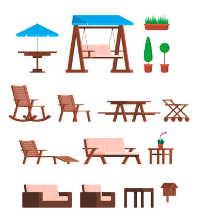 Cartoon Color Different Garden Furniture Icons Set. Vector