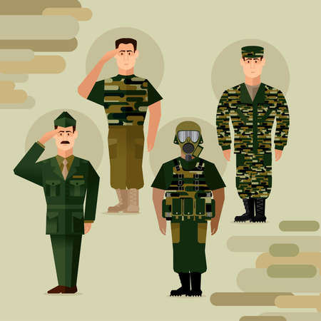 Cartoon Color Character Person Army Soldiers Concept. Vector