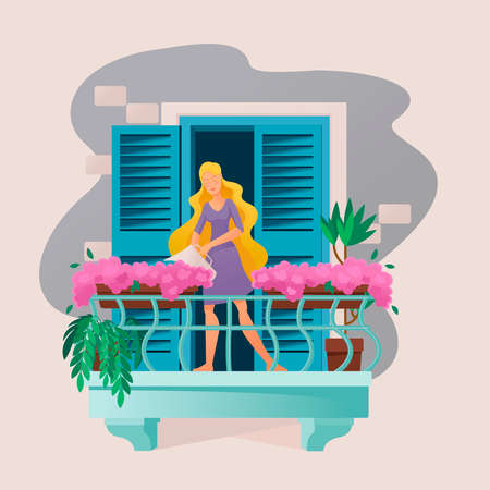 Cartoon Color Character Person Woman and Plants on Balcony Concept. Vector