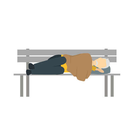 Cartoon Color Character Homeless Person on Bench. Vector Çizim