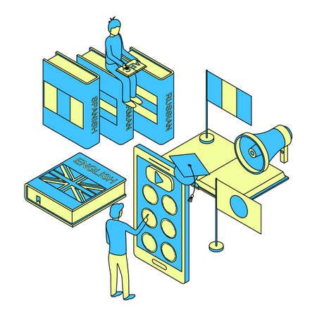 Language School Infographics Concept 3d Isometric View. Vector