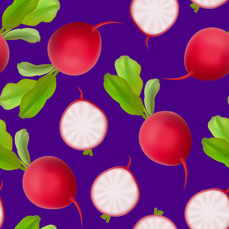 Realistic 3d Detailed Whole Radishes Seamless Pattern Background. Vector Ilustracja