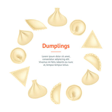 Realistic 3d Detailed Dumplings Concept Banner Card Circle. Vector