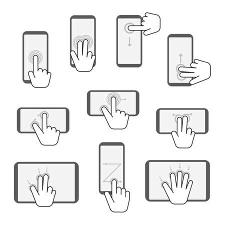 Hand Touchscreen Gestures Device Icon Set. Vector 矢量图像