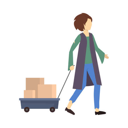 Cartoon Color Character Homeless Person Walking. Vector