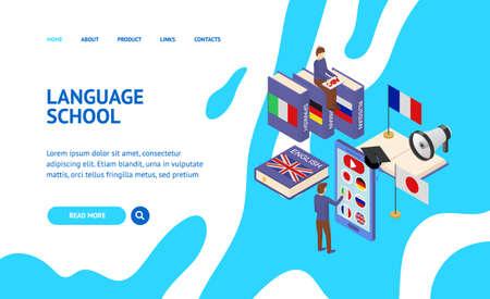 Language School Infographics Concept Landing Web Page 3d Isometric View. Vector