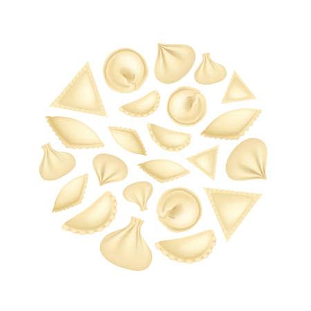 Realistic 3d Detailed Dumplings Concept Round Design Template . Vector