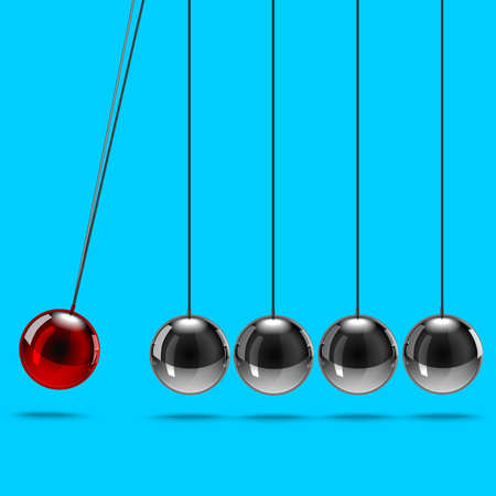 Realistic 3d Detailed Metallic Newtons Cradle. Vector Illustration