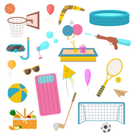 Cartoon Color Summer Holiday Activity Icons Set. Vector
