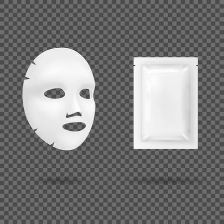 Realistic 3d Detailed White Blank Facial Mask Cosmetics Template Mockup Set. Vector