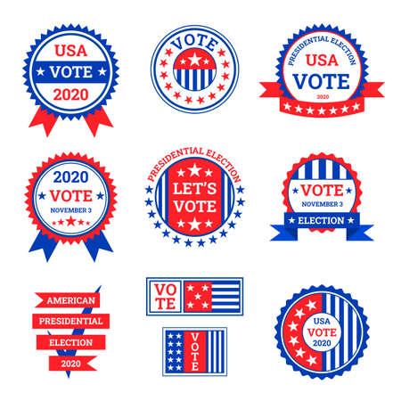 Cartoon Color Election Label Badge Sign Set Concept Flat Design Style. Vector
