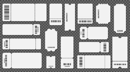 Realistic 3d Detailed Empty Ticket Template Set. Vector