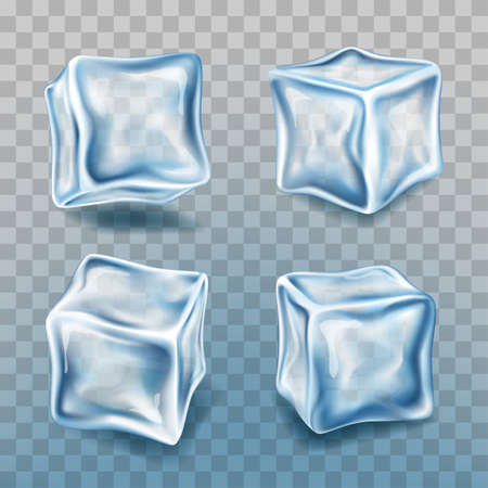Realistic 3d Detailed Ice Cubes Set. Vector Ilustracja