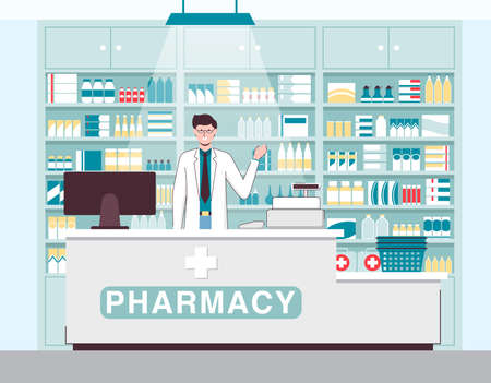 Cartoon Color Character Person and Pharmacy Concept. Vector