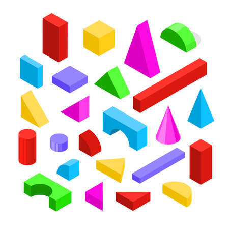 Color Wooden Blocks Toy Icon Set 3d Isometric View. Vector