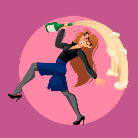 Cartoon Color Character Drunk Woman and Office Concept. Vector