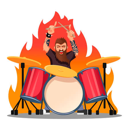Cartoon Color Character Person Rocker Playing Drums Concept.
