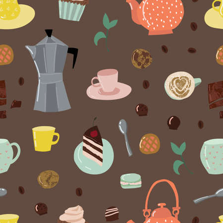 Cartoon Color Tea and Sweets Seamless Pattern Background.
