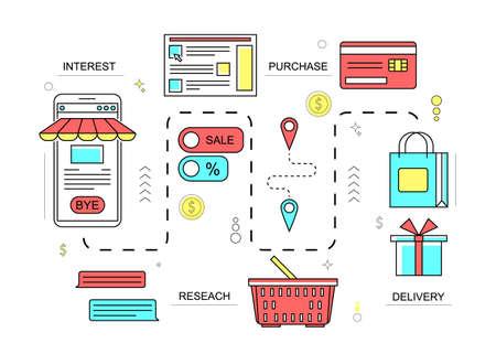 Customers Journey Marketing Concept Contour Linear Style. Vector Ilustración de vector