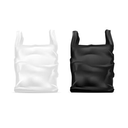 Realistic Detailed 3d White and Black Blank Disposable Plastic Bag Template Mockup. Vector Banco de Imagens - 154722556