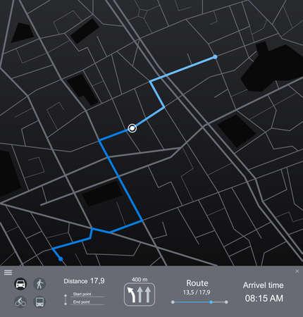 Cartoon Route Dashboard Concept Card Poster. Vector Ilustração