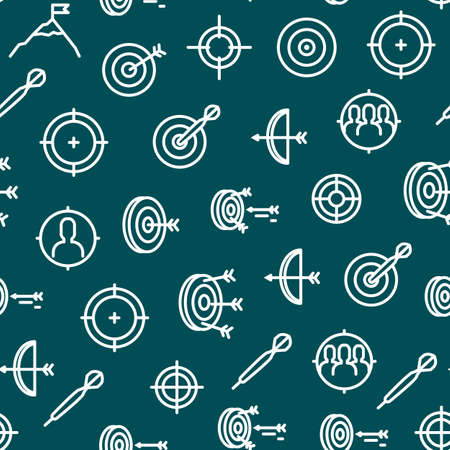 Target Signs Thin Line Concept Seamless Pattern Background. Vector