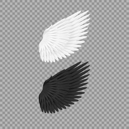 Realistic Detailed 3d White and Dark Blank Wings Template Mockup. Vector