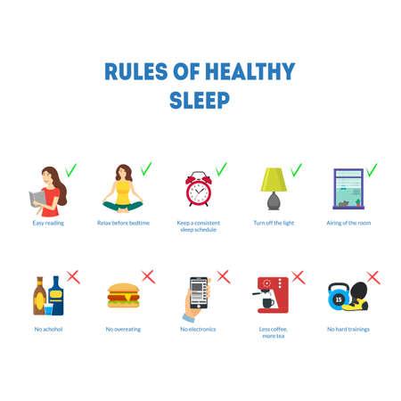 Cartoon Rules of Healthy Sleep Concept Card Poster. Vector