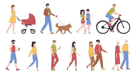 Cartoon Color Characters People Walking Set Concept. Vector Banco de Imagens - 154722577