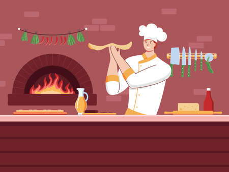Cartoon Color Character Person Male Cook Chef Serving Pizza Concept. Vector