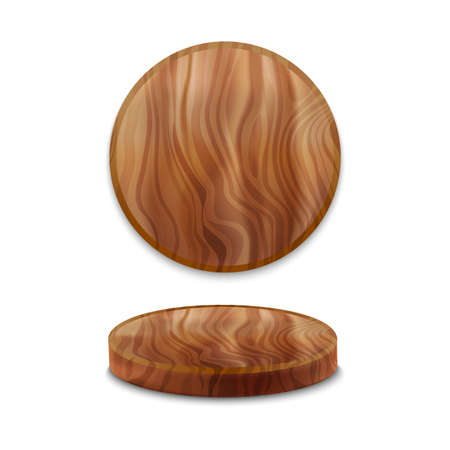 Realistic Detailed 3d Wooden Pizza Board Tablecloth Set. Vector