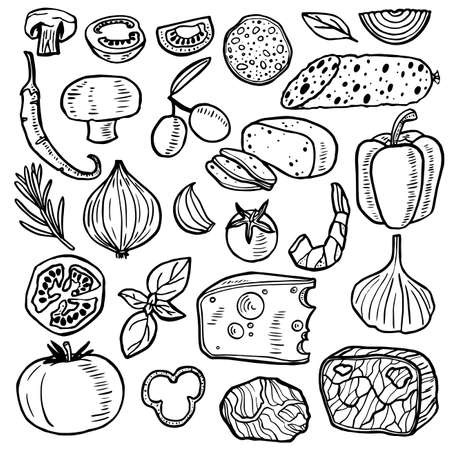 Pizza Ingredients Hand Drawn Black Thin Line Icon Set. Vector