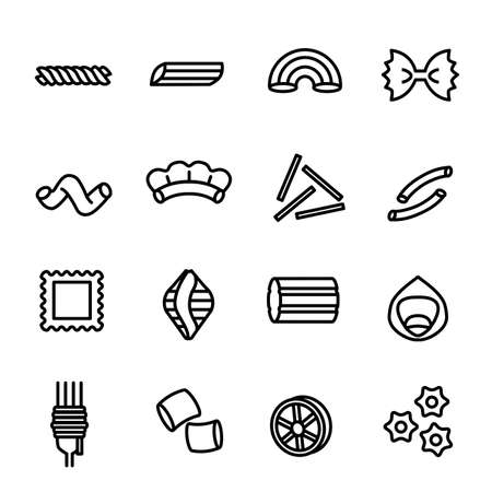 Italian Pasta Food Sign Black Thin Line Icon Set. Vector