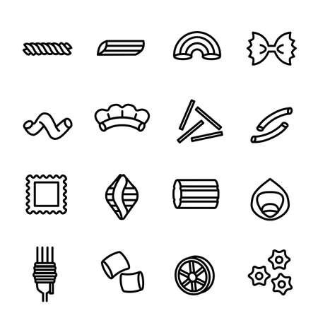 Italian Pasta Food Sign Black Thin Line Icon Set. Vector Banco de Imagens - 154722607