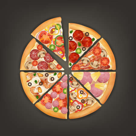 Realistic Detailed 3d Slice of Pizza with Different Type Ingredients Set. Vector Ilustração